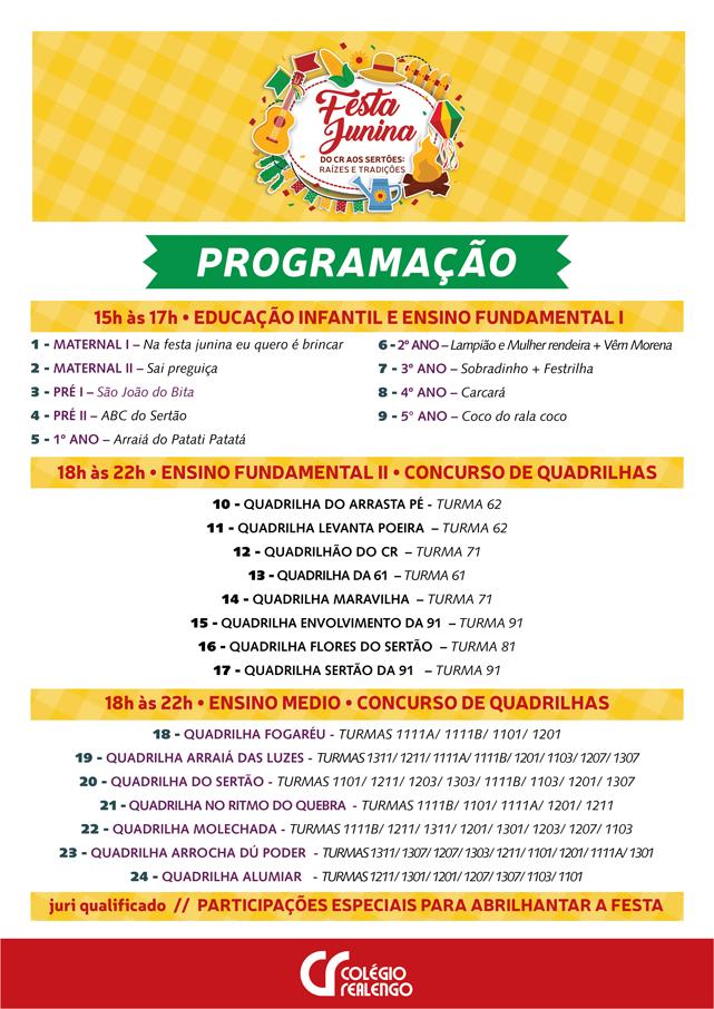 festa junina 2018 programacao